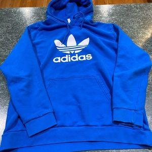 Adidas Blue Big Trefoil Logo Hoodie Men's Sz Large